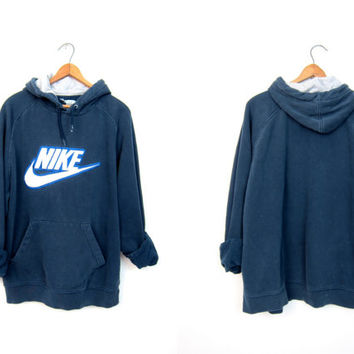 Navy Blue Nike Hooded Sweatshirt Athletic Pullover Nike Hoodie Raglan Sweater Slouchy Sports Sporty Prep Workout Top DELLS Mens Size Large