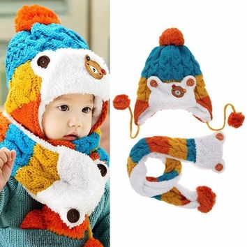 Baby Cute Bear Design Toddler Girls Boys Winter Warm Cartoon Hat Hooded Scarf Earflap Knitted Cap