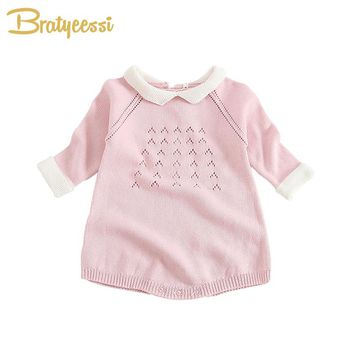 Spring Knitted Baby Girls Rompers Long Sleeve Toddler Jumpsuits Infant Baby Girl Clothes 6M