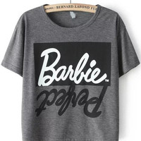 Grey Short Sleeve Letters Print Graphic Cropped T-Shirt