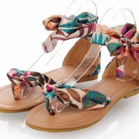 Boho Flower Print Women Summer Flats Gladiator Ankle Straps Sandals