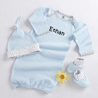 """Baby Aspen """"Welcome Home Baby!"""" 3-Piece Layette Set in Keepsake Gift Box (Blue)"""