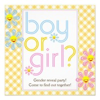 Gender reveal party text design with daisy flowers personalized invite from Zazzle.com