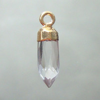 Rock Crystal spike Pendant, Bullet Point Gold Electroplated Capped Pendant, 1 pc,16x5mm, CP-0008