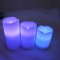 Remote Control 12 Color LED Flameless Party Wax Candles Automatic color changing