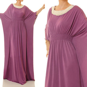 Berry Purple Dubai Kaftan Maxi Dress, Pearl Embellished Boho Abaya Kaftan Dres, Alternative Wedding Dress - Free Size Fits S/M/L (6342)