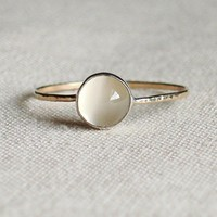 BACKORDERED - Moon on a Golden Thread - Sweet and Simple Hammered Stacking Ring - Rose or Yellow Band - Delicate Jewelry