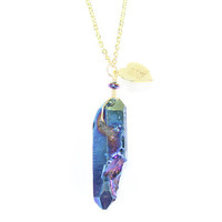 Titanium Druzy Long Pendant Necklace | VidaKush