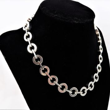 Heavy Silver Chain Necklace, Large Link and Bar, Chunky Choker, Vintage Necklaces