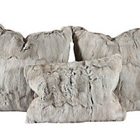 Rabbit Fur Pillows, S/3