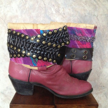 DURANGO upcycled pink western cowboy boots womens size 8 1/2