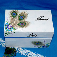 Wedding Guest Book BOX Alternative Vintage Decorative Wood Box Keepsake Peacock
