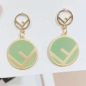 FENDI Stylish Women Cute Chic Circle F Letter Pendant Earrings Accessories Jewelry Green