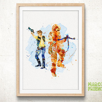 Han Solo and Chewbacca - Watercolor, Art Print, Home Wall decor, Watercolor Print, Star Wars Poster