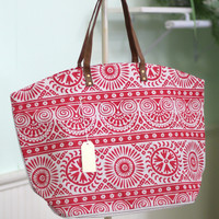 Mosaic Print Tote Bag {Red}