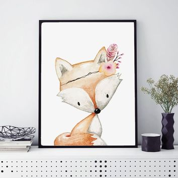 Girls Woodland Fox Birth Watercolor Prints  Animal Wall Art Picture Little Girl's Room DecorationHome Wall Art Painting No Frame