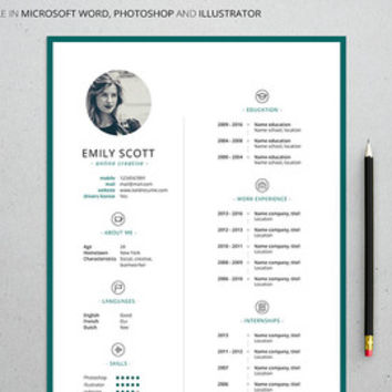 Professional Creative Resume Template for Microsoft Word and Photoshop, Illustrator, Adjustable colors, Mac or PC, A4, Instant Download