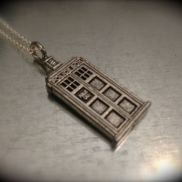 UK Police Phone Booth Silver Tone Charmed Interpreted Necklace