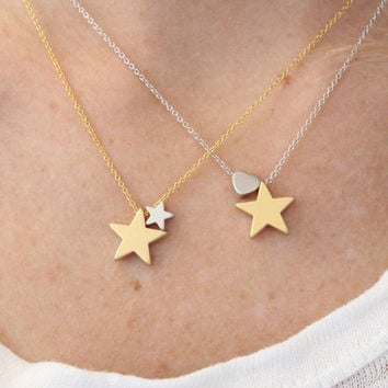 Star and heart necklace. Love necklace. gold and silver necklace. Star and tiny heart charm. everyday necklace