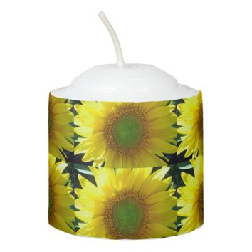 Repeating Sunflowers Votive Candle