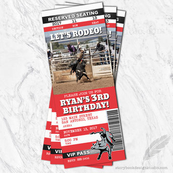 Rodeo Ticket Birthday Party Invitations