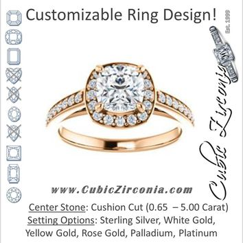 Cubic Zirconia Engagement Ring- The Farrah Michelle (Customizable Cushion Cut with Halo & Sculptural Trellis)