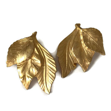 Vintage Clip Earrings Matte or Satin Gold Tone Leaves Clip Ons Autumn Accessory