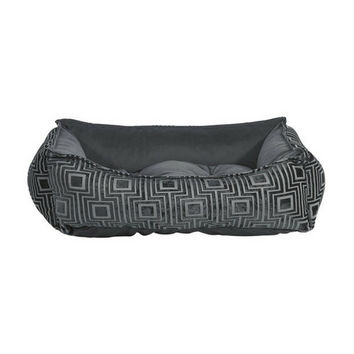 Scoop Bolstered Dog Bed — Twilight Jacquard / Ash MicroVelvet