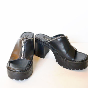 Vintage 90s Platform Shoes Chunky Heel Sandals Chunky Heel Shoes Black Platform Sandals With Zipper Rave Club Kid Grunge Size 8.5