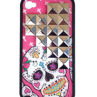 Pink Sugar Skull Silver Pyramid iPhone 4/4s Case