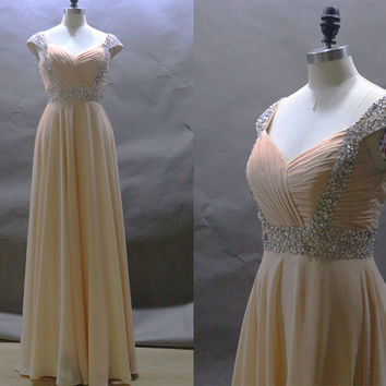 Modern long A-line champagne cap sleeves chiffon Prom dresses,Formal evening dress,bridesmaid dress.party dresses for special occasions