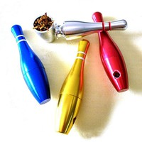 DCCKL72 Bowling Smok Metal Pipes Portable Creative Smoking Pipe Herb Tobacco Pipes Gifts Narguile Weed Grinder Smoke Random Delivery