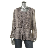 NY Collection Womens Chiffon Snake Print Blouse