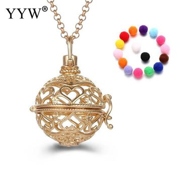 YYW Lovely Round Perfume Aromatherapy Pendant Essential Oil Diffuser Pregnant Ball Locket Cage Necklace Pendant Women's Gift