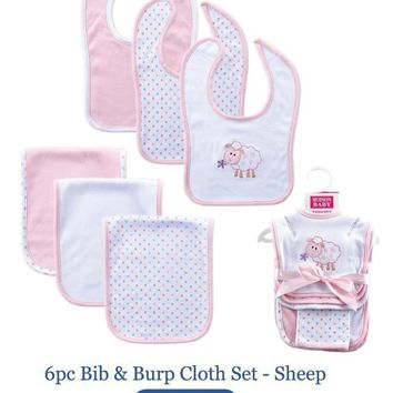 5 Cartoon 6 Pcs/lot Bibs for Baby Girl and Boy Sheep Pink Cute Babadores Baby Bibs Towel Clothing Baby Accessories