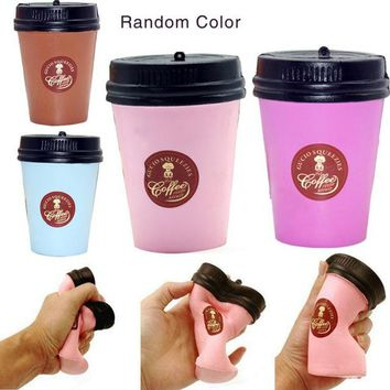 1 Pc squish Cute Squishy Slow Rising Jumbo 11CM Coffee Cup Phone Strap Kawaii Pendant Stretchy Bread Cake Kids Fun Toy Gift ZJD