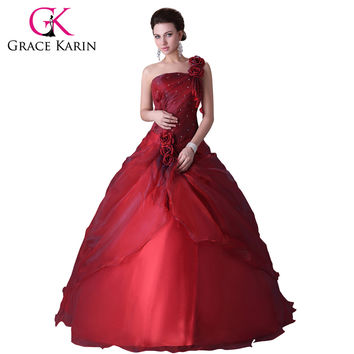 2016 Grace Karin One Shoulder Ball Gown Dress For 15 Years Cheap Red Quinceanera Dress Sweet 16 Ball Gown Quinceanera Dress 2016
