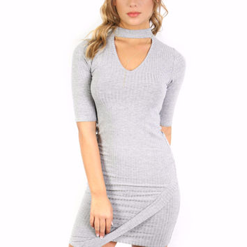 Miss Me Much Heather Gray Dress