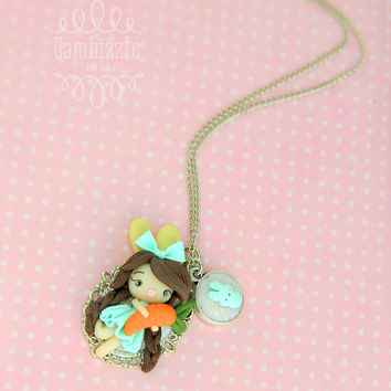 OOAK kawaii bunny girl necklace, Easter necklace, Bunny necklace, Spring necklace, Spring jewelry