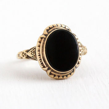 Vintage Onyx Ring - 10k Rosy Yellow Gold Black Onyx Art Deco Statement - 1930s Size 6 1/2 Oval Black Gemstone Repousse Flower Fine Jewelry