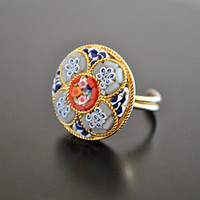 VINTAGE adjustable ITALIAN MOSAIC ring