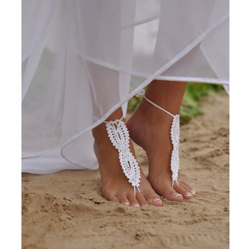 Crochet Barefoot Sandals, Beach wedding White Nude shoes, Foot jewelry, Bridal, Victorian Lace, Sexy,  Anklet