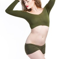 Bare Belly Cropped Off Shoulder Sexy Sweater Top & Low Rise Knit Boy Shorts by KD dance NY Made In USA