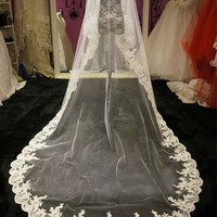 Top Quality! 2015 Long 1 Layer White Ivory Tulle Lace Edge Wedding Veils Free Shipping Wedding Accessories V7
