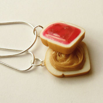 strawberry jam peanut butter and jelly best friend necklaces