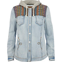 Blue hooded aztec panel denim shirt