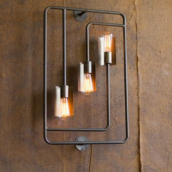 Raw Metal and Brass Wall Lamp with Three Lights