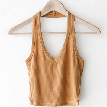 Halter Crop Top - Honey Mustard