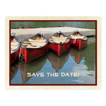 Save the Date 75th Birthday Red Canoes Postcard