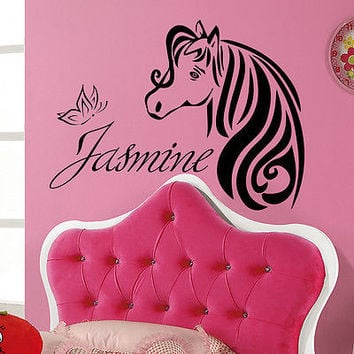 Wall Decal Personalized Name Horse Decals Girl Nursery Room Decor Sticker MR706
